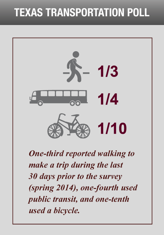 One-third reported walking to make a trip during the last 30 days prior to the survey (Spring 2014), one-fourth used public transit, and one-tenth used a bicycle